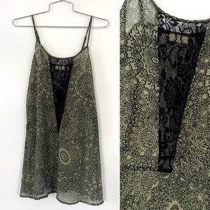 Pins and needles green floral lace tunic tank top